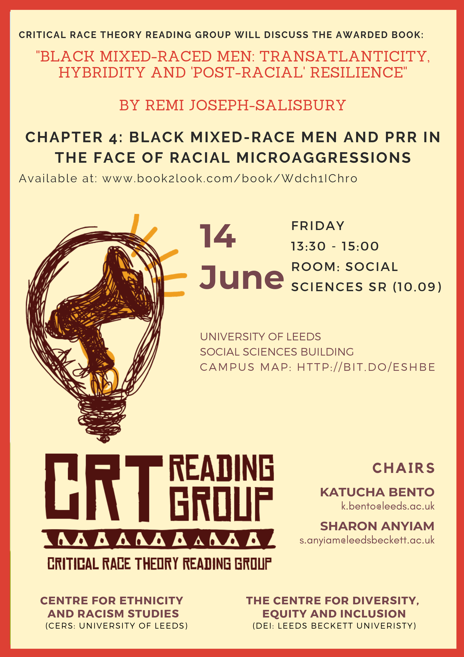 "A poster for the event, featuring all the information included in the text in this event listing. The poster has a cream background, red border, and features an illustrated graphic of a megaphone in a light bulb (brown and orange), above the words ""CRT Reading Group"" also illustrated in brown and orange."
