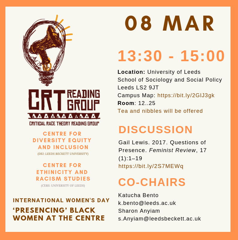 Poster for the reading group meeting, with all information and the CRT Reading Group Logo. Colour scheme brown and dark yellows/light oranges.