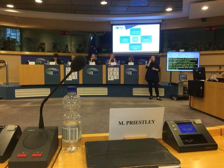 Mark Priestley presents evidence to a European Parliament Committee room