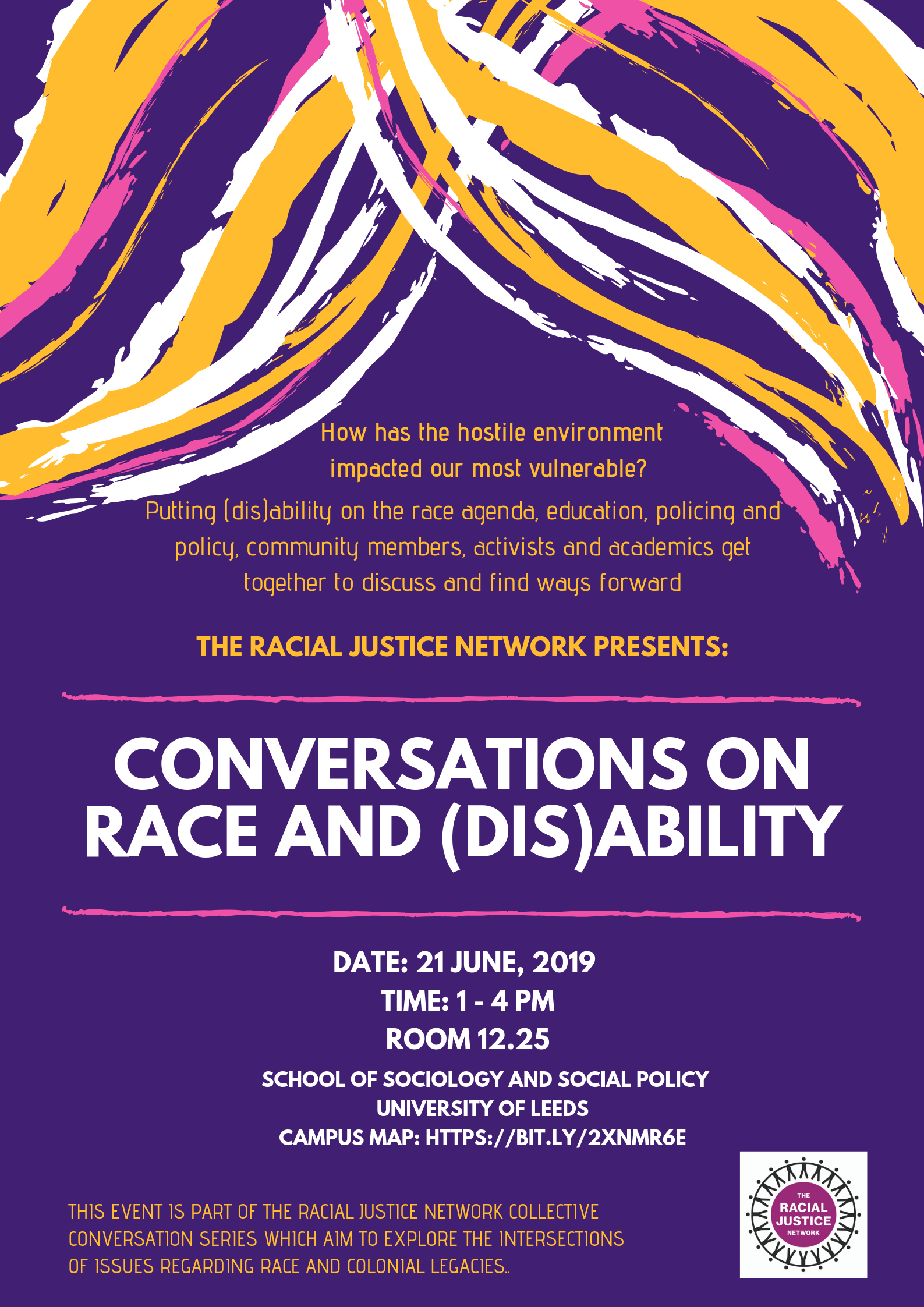 Poster with all the information included in this event listing. The poster has a purple background with a pattern of yellow, white and pink swishes at the top. The text of the poster is in white, yellow and pink. The Racial Justice Network logo is in the bottom right corner.