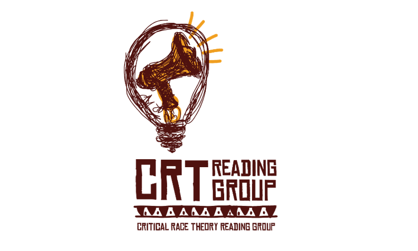 "CRT Reading Group Logo which, alongside those words, includes an illustration of a megaphone in a light bulb (drawn in brown and dark yellow), with an illustrated pattern and ""Critical Race Theory Reading Group"" in brown."