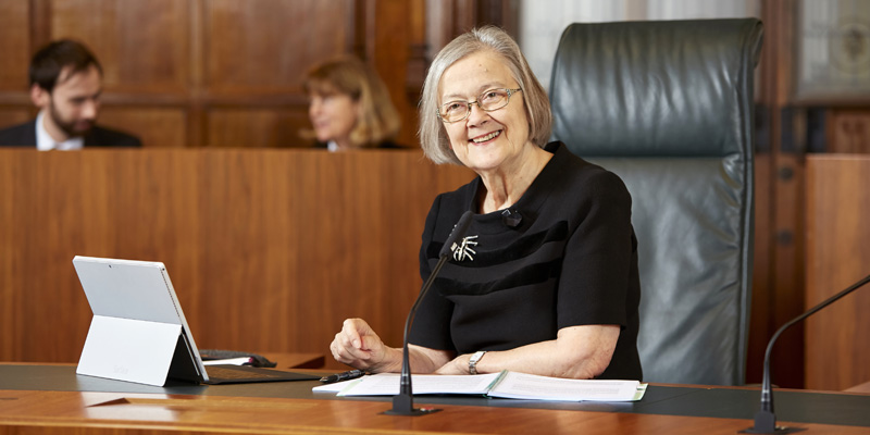 Lady Hale in the courtroom
