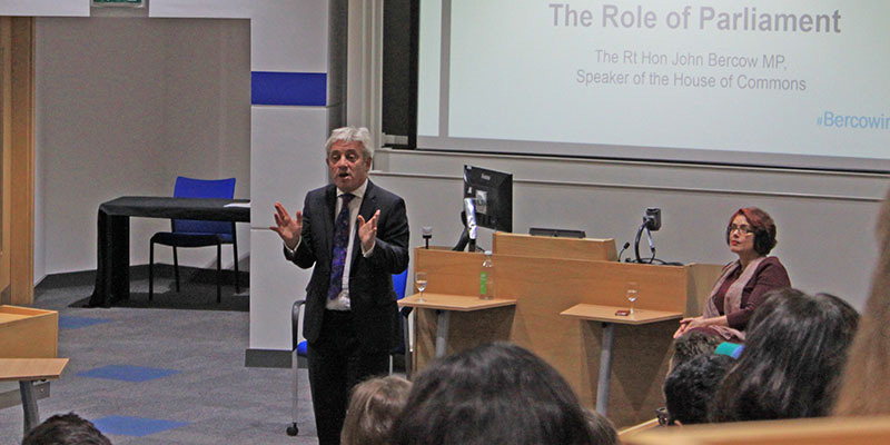 Mr Speaker John Bercow presents lecture on the Role of Parliament