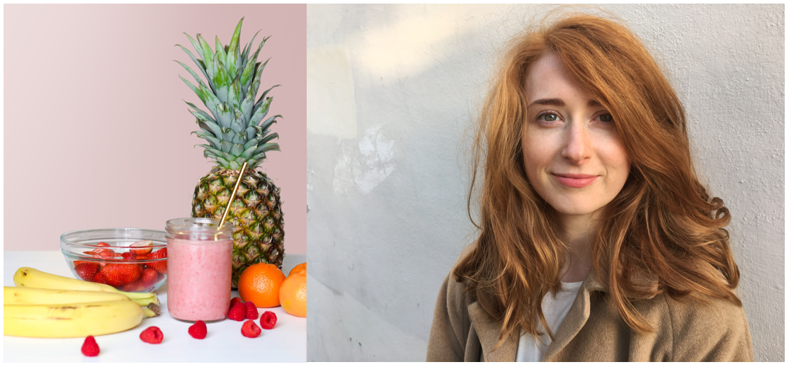 Photo of fruit next to photo of Rachel O'Neill