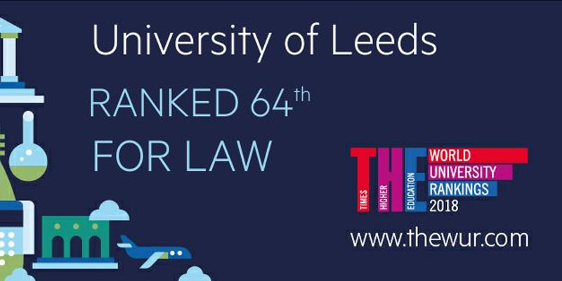 Law at Leeds ranked 64th in the World University Rankings 2018