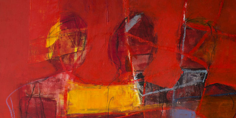 Painting of 3 abstract figures in dark yellows, dark reds and blues against a dark red background.