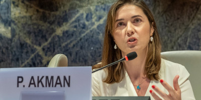 Pinar Akman delivering her speech at the UN