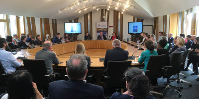 Cristina Leston-Bandeira presenting to Scottish Parliament