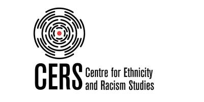 Graphic image of black round lines forming partial circles, like a maze, with a red dot in the centre, like a target. Beneath the image is written CERS in large letters, with 'Centre for Ethnicity and Racism Studies' to the right.