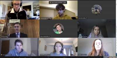 Screenshot of online meeting with 8 students, Professor Cristina Leston-Bandeira and Leader of the UK House of Commons Jacob Rees-Mogg MP.