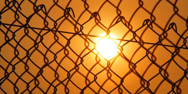 Sunshine through wire fence