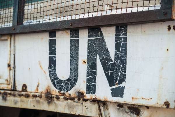 UN peacekeeper truck with branding on side