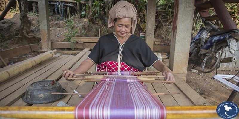 Woman working at a loom, image courtesy of the Karen Hilltribes Trust